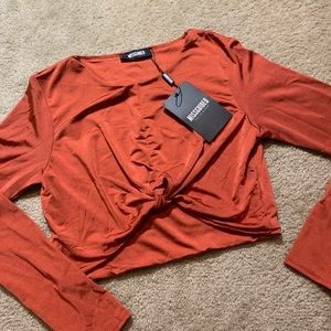 Missguided Rust color crop long sleeve